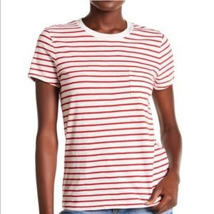 Madewell red stripe pocket t-shirt